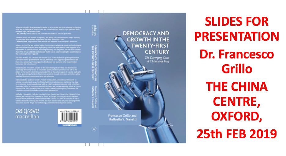 Book Presentation. Democracy and Growth in the 21st Century: the diverging cases of China and Italy.